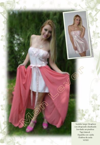 Vestido De Seda Y Shantung Corto Y Largo