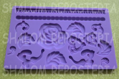 Imagen 1 de 3 de *molde Silicon Cenefas #6 Rosa Hoja Perlas Isomalt Fondant