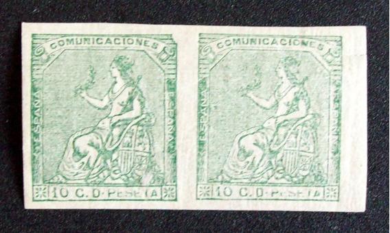 España - Pareja Sellos S-dentar Yv. 133 1873 Falsos L1719