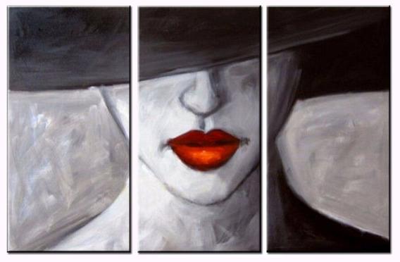 3 Quadros 30x60 Cm Pintura Tela Abstrato Mulher Vermelho