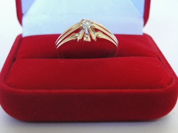 Anel De Ouro 18k - Pé De Cabra - Com 1 Diamante De 7 Pontos