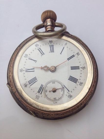 Relógio Ouro E Prata Antigo. Cilindre 10 Rubis