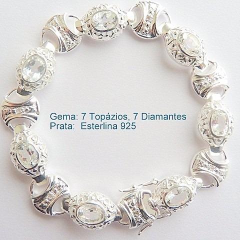 Pulseira De Prata 925 Com Garantia E Topázio E Diamante 7032