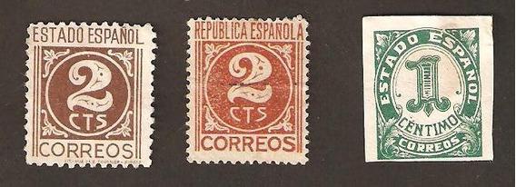 Estampillas España 1936 Yvert 557 576 577