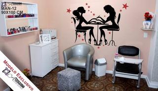Adesivo Parede Manicure Salão Beleza Unha Estrelas Exclusivo