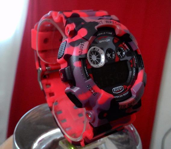 Relógio Camuflado Shock Red Modelo Militar Exercito Sanda