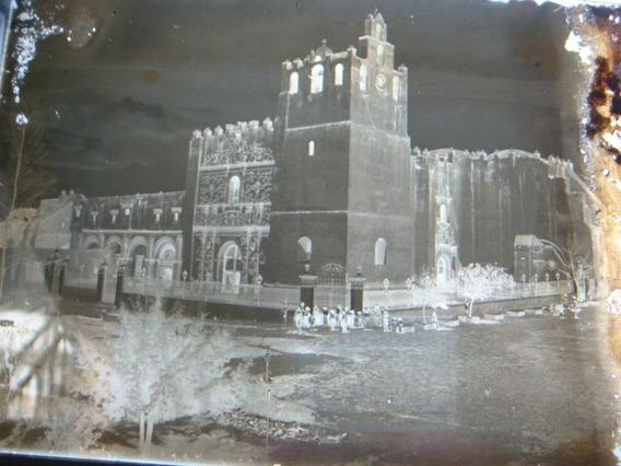 Antigua Placa Fotográfica Convento De San Agustín En Yuriria