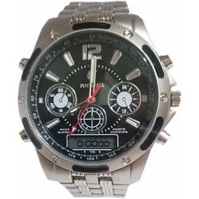 Promoção Super Relógio Luxo Prata + Relógio De Brinde