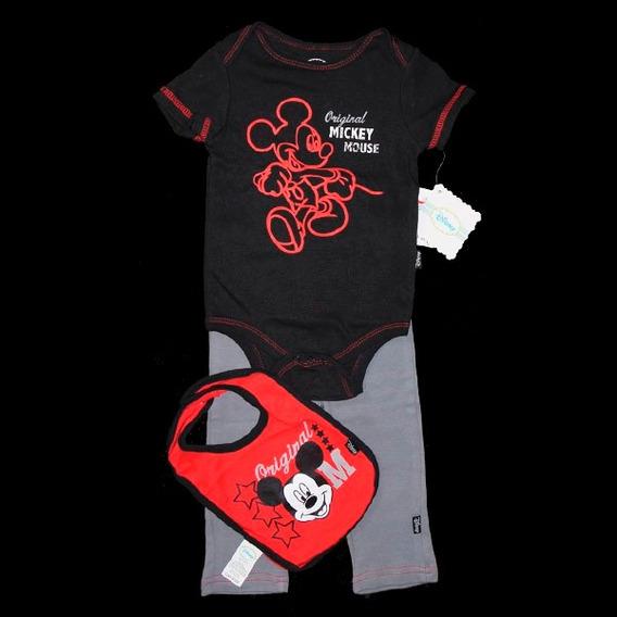 Conjunto Bebê Body, Babador E Calça De Moletom Disney