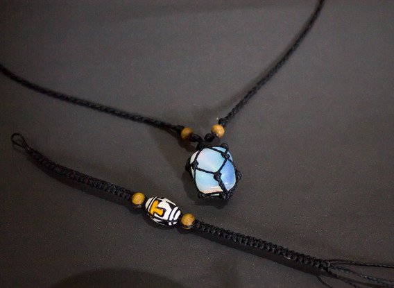 Colar Pedra Da Lua (opalina) Hippie C/ Fio Preto + Brinde