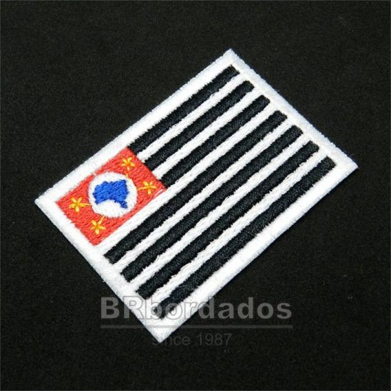 Bbr358 Bandeira São Paulo 6x4,2cm Kart Mot Tag Patch Bordado