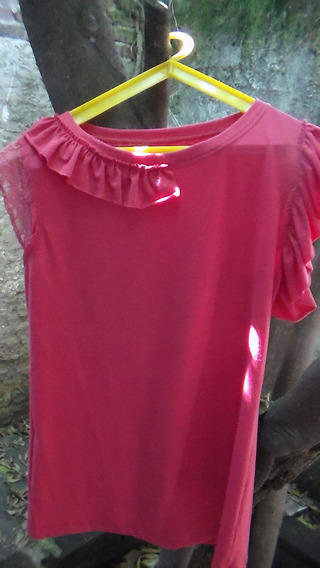 Remera/blusa De Diseño Con Puntillas Y Volados