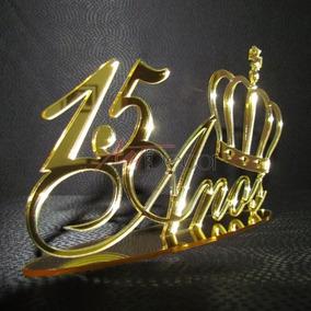 Topo De Bolo Em Acrílico 15 Anos Coroa Espelhado Debutante