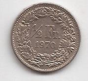 Suiza Moneda De 1/2 Franco Año 1970 !!!!!!!!!!!!!!!!!!!!