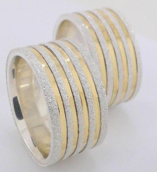Par Alianças Prata 950 10mm E 4 Filetes Ouro 18k