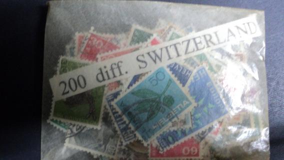 Estampillas De Suiza - 200 Sellos Diferentes Sin Papel
