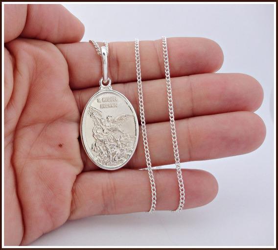 Cordão 70cm Com Pingente São Miguel Arcanjo Em Prata 950