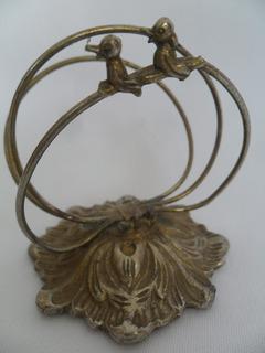 Porta Guardanapo Antigo Metal Com Decoração De Passarinhos
