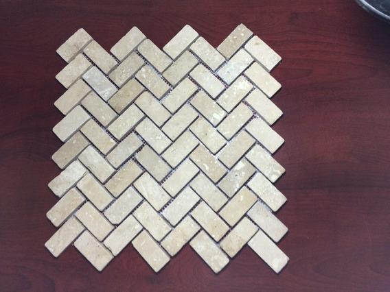 Malla Mosaico Tapete Marmol Travertino Herring Bone