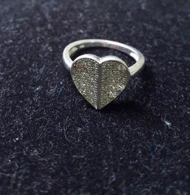 Anel Coração Em Prata 925 E Zircônia - Aro 20