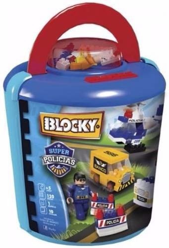 Blocky Súper Policías Balde 120 Piezas Tipo Rasti