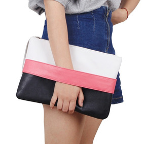 Bolsa Feminina De Mão Wristlets Patchwork De Couro Bag Bolsa