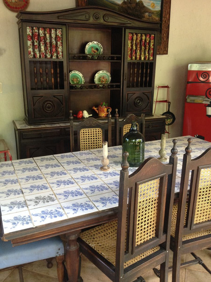 Conjunto De Jantar Antigo De Madeira Maciça
