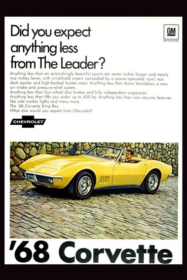 Poster Cartele Antiguo 60x40cm Chevrolet Corvette 68 Au-160