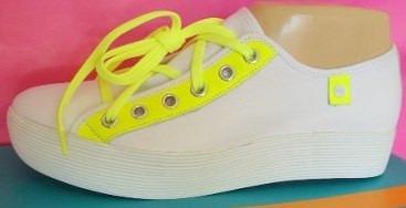 Viamo Zapatillas 37,38 Cuero Blanco Amarillo Fluo (ana.mar)