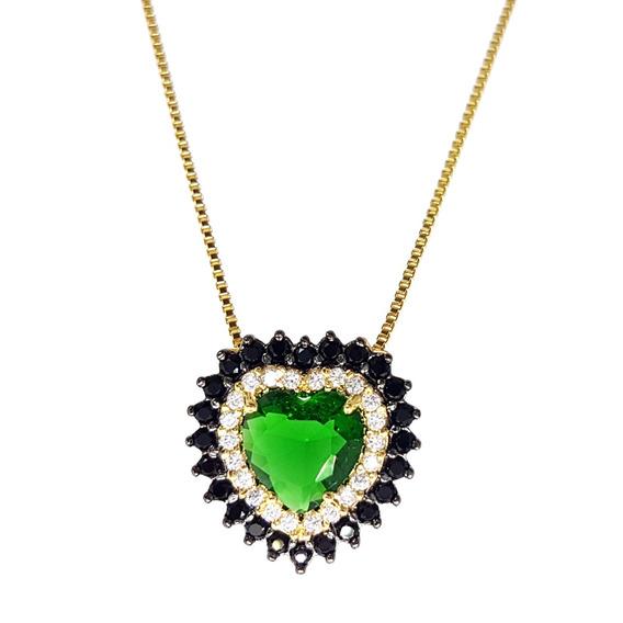 Colar Lavizke Coração Esmeralda Com Zircônia
