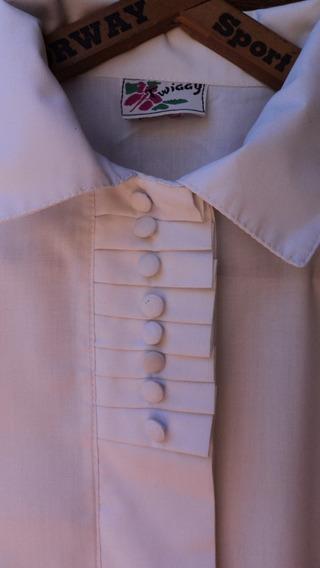Bella Camisa Blanca Con Tablitas/ Jabot, Talle M/l (42-44-46