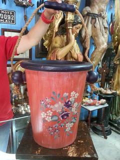 Matera En Madera Y Oleo Con Cuerda Tecnica Vintage