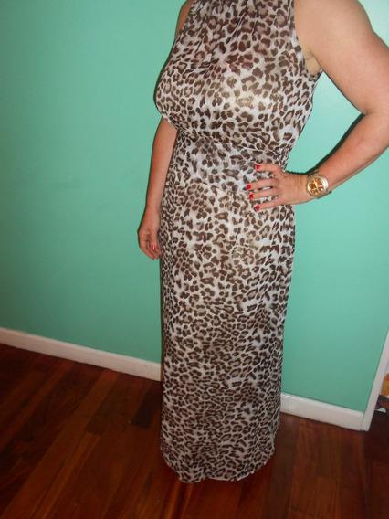 Vestido De Fiesta Gasa Animal Print/leopardo Talle Unico