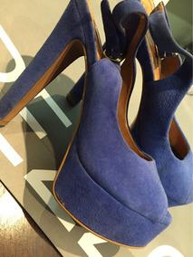 Peeptoe Arezzo Azul Meiapata Lindo Impecável
