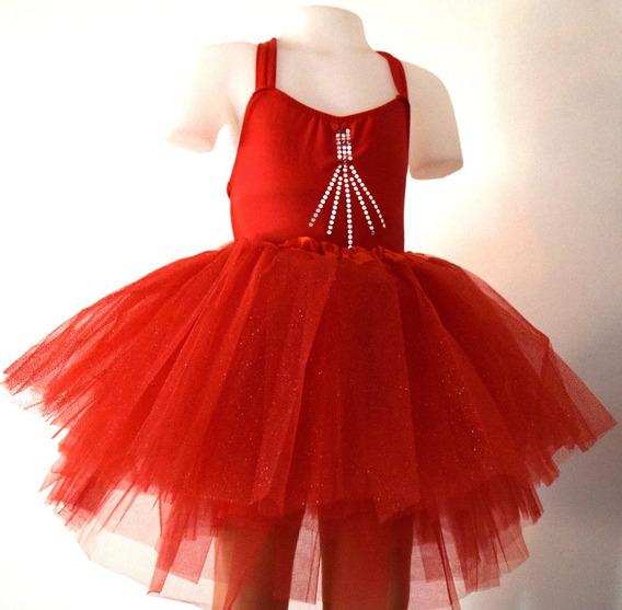 Malla Danza Ballet Tiritas Dobles Espalda Cruzada Rojo Etc