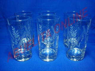 Hermoso Juego De 6 Vasos Largos De Cristal Dibujado 14 Onzas
