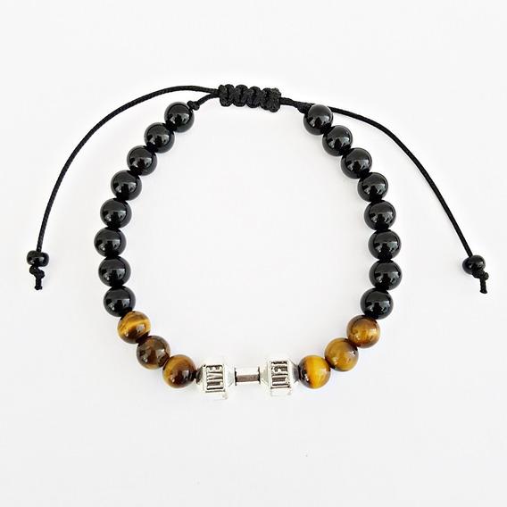 Pulseira Feminina Masculina Bracelete Pedra Onix Halteres