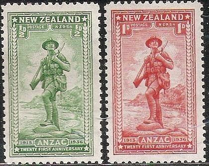 Desembarco Anzac N. Zelanda Serie Mint Compl 211/2 Año 1936