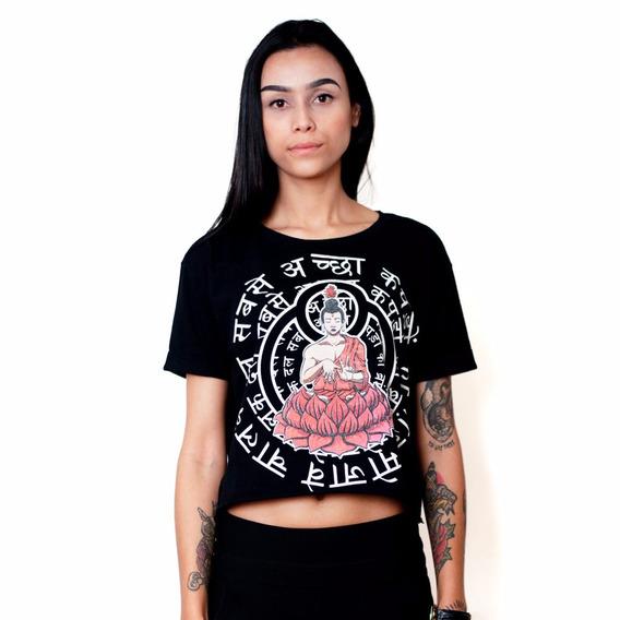 Blusa Cropped Buddha Black & White