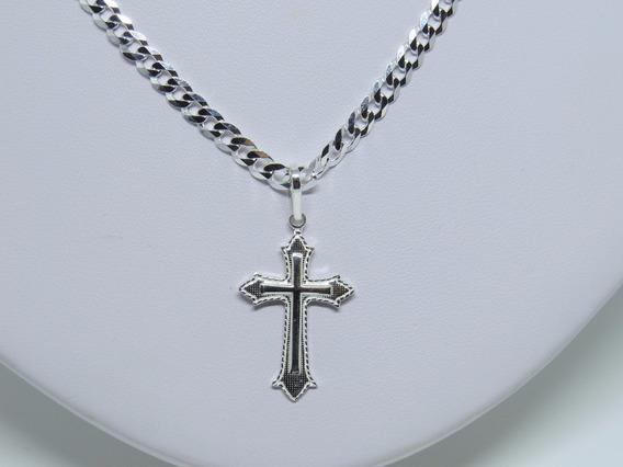 Corrente Grumet 70cm + Pingente Crucifixo Prata 925 Maciça