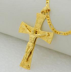 Requintado & Marcante Crucifixo Colar Banhado 18 K