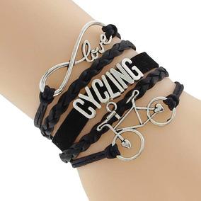 Pulseira Em Couro Amor Infinito Com Charme Bicicleta Preta