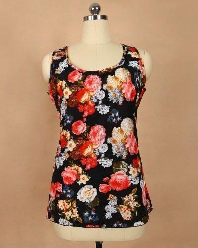 Blusa Top Negro Floral Talla Standard Importado Nuevo Stock