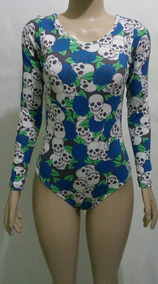 Body Feminino Estampado Collant Aberto Nas Costas Caveira