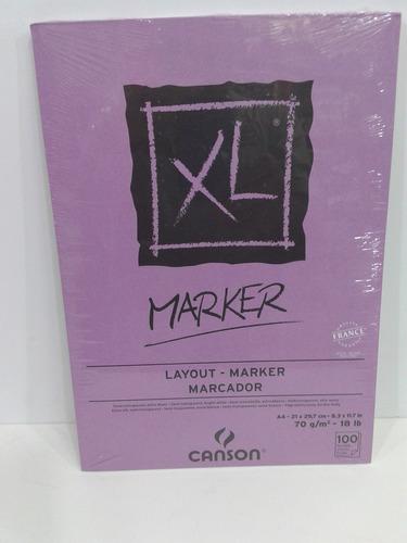 Block Canson Marker Xl 70gs Tamaño A4 100 Hojas Microcentro