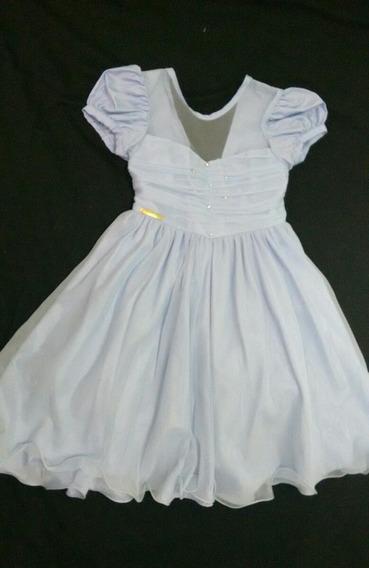 Vestido Azul Infantil Menina Bonita Com Tule Festa Cinderela