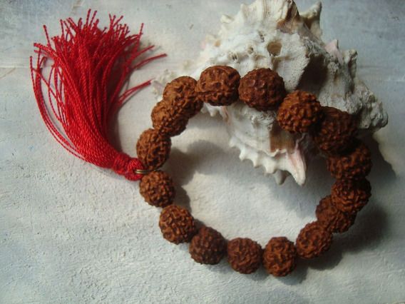 Vishudi Japa Mala Budista De Mano, Rudrakshas, Borla Roja
