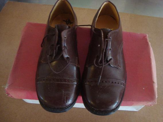 Par De Zapato Antiguo Sin Uso Nro 25 Marrón Oscuro Vaca Lisa