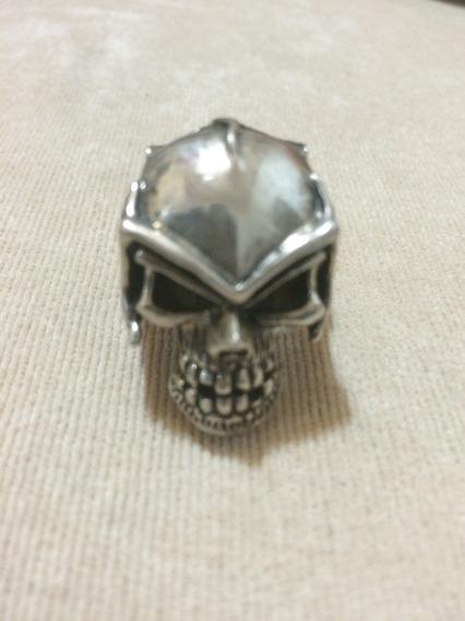 Anel Caveira Metal Soldier Prata Excelente Pesada Importado