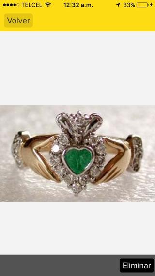 Anillo Oro 14 K Celta Esmeralda Irlandes Irish Claddagh